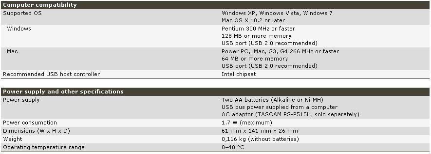 Registratore digitale TASCAM DR-05 caratteristiche tecniche 2