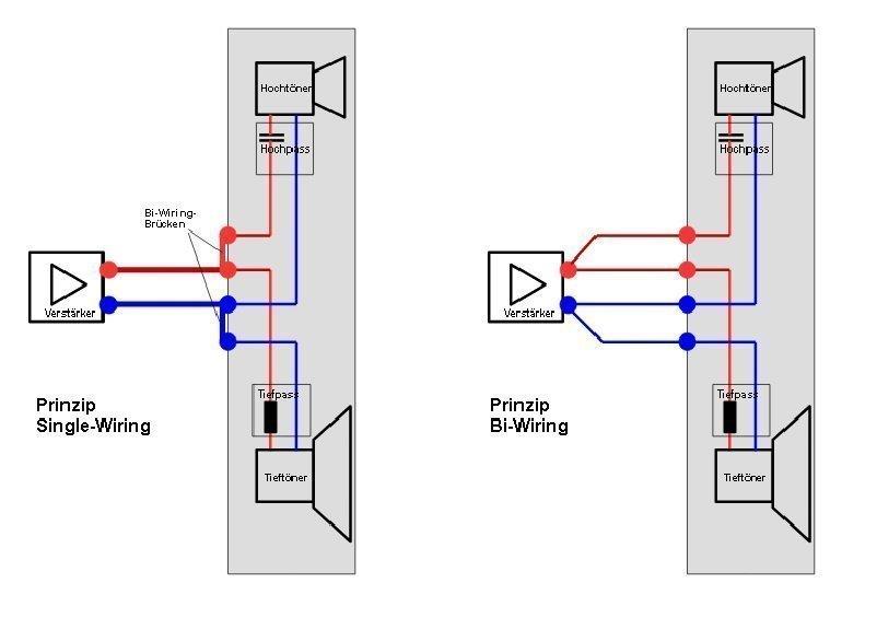Single-Wiring e Bi-Wiring schema dei collegamenti